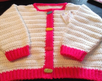 Crocheted Baby Girl White Sweater with FLIP FLOP Buttons