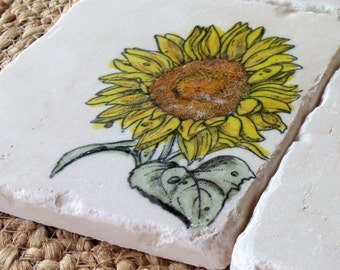 Sunflower Coasters - Mother's Day Gift - Absorbent Tile Coasters - Floral Home Decor