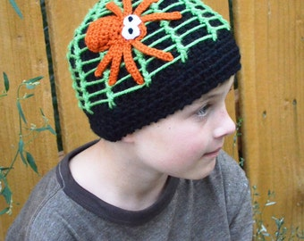 Spider Web Hat - Child Size - You Choose Colors - Halloween Beanie