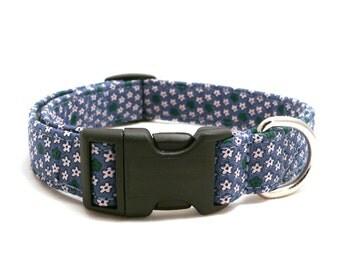 ON SALE - Teal floral dog collar - Floral pet collar - 20% sale - Teal blue and green adjustable dog collar