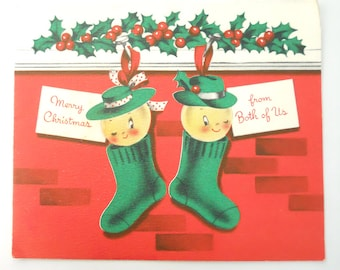 1950s HIS and HERS Christmas STOCKINGS- greeting card