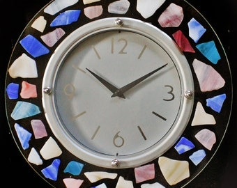 Colorful Battery Operated  Clock with Artificial Sea Glass in Pastel Colors