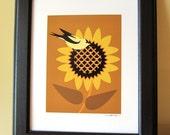 Goldfinch on Sunflower Art Print