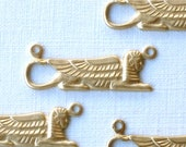 10 SPHINX Egyptian brass charms.  27mm x 9mm (ST74)