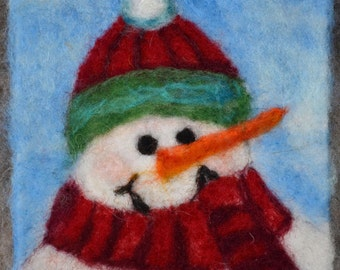 "074 ""Joyful Snowman"" Thyme Tile Needle Felting Pattern Kit"