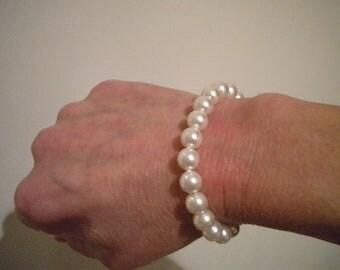 Pearl Bracelet, classic Swarovski simple wedding jewelry for bride & bridesmaids vintage style PB014