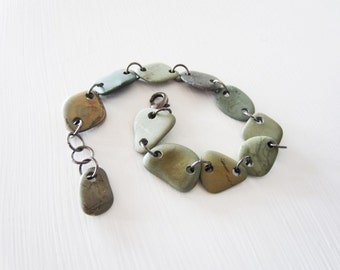 Beach stone bracelet.  Lake Michigan stone jewelry in grey and silver.  Adjustable length.
