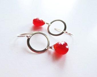 Rust earrings. Brown earrings. Circle earrings. Silver earrings. Carnelian earrings. Rust jewelry. Carnelian jewelry. Stone earrings.