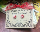 Queen of Hearts Rose Earrings - Red and White Alice in Wonderland Posts