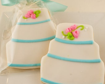 Wedding Cake Cookies - 12 Decorated Sugar Cookie Favors