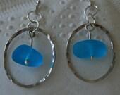 Bright Blue Sea Glass, hammered hoop Earrings