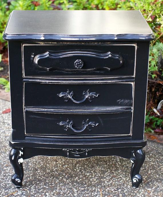 french provincial black 2 drawer nightstand by shabbychicfairytale. Black Bedroom Furniture Sets. Home Design Ideas
