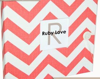 Baby Book | Baby Memory Book | Coral/Salmon Chevron Stripe Album | Ruby Love Designs