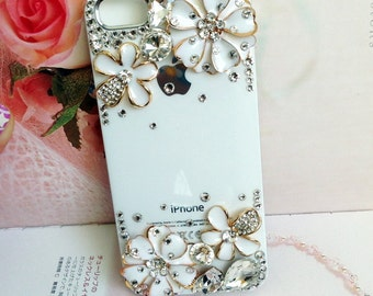 White apple iphone case, swarovski rhinestone blossom, US Free Shipping