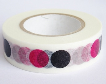 Washi Masking Tape - Dots in Black, Pink & Grey - Limited Edition - Tokyu Hands (15m roll)