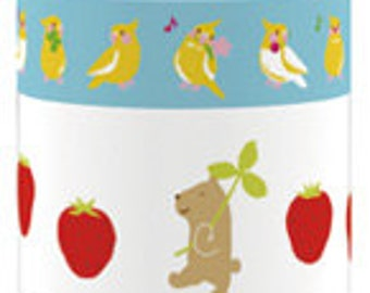 Funtape Masking Tape - Parrot & Strawberry - Wide Set 2