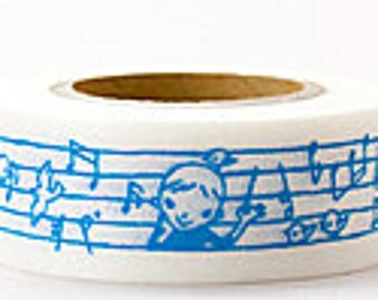 Delfonics Washi Masking Tape - Blue Musical Notes  - Wide - Snih