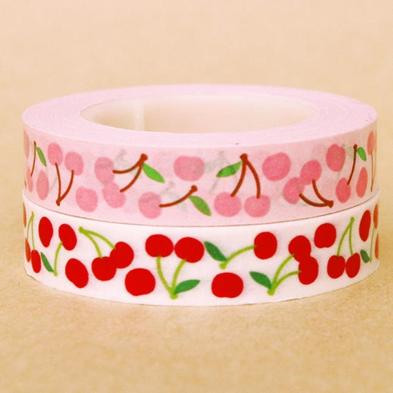 SALE - Funtape Masking Tape - Cherries - Slim Set 2 - 25% off