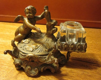 Cherub Pen Stand and Inkwell Vintage Ormolu