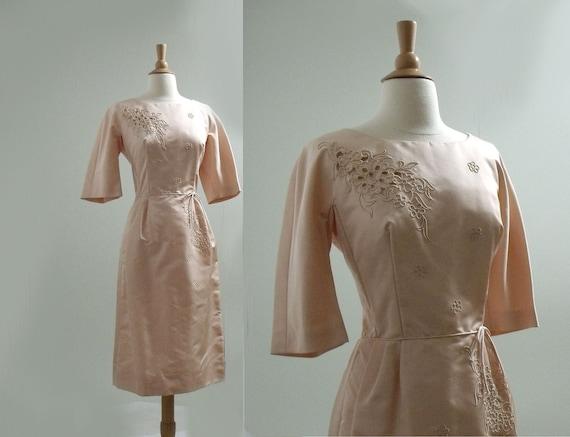 1950s Wiggle Dress / Satin Blush Vintage Dress /Bust 36