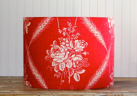 Rosy Red Vintage Drum Lampshade