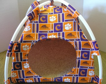 Small Handmade Clemson Tigers Pup Tent Pet Bed For Cats/ Dogs / Ferrets / Piggies  Or Used For A Toy Box / Barbie Doll House