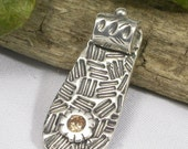 Abstracted Tab Fine Silver Pendant on STERLING SILVER CHAIN