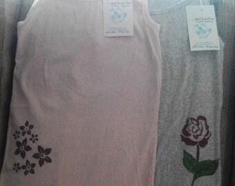 Ladies Handpainted Tank Top Pink or Gray with Flowers
