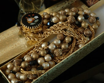 DeMario Beaded Masterpiece. Inlaid Art Glass Cameo, Black and Tan Russian Gold Mix, Japanese Dimpled Glass Pearls