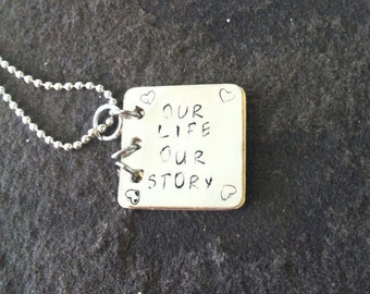 Our life our story 3 page book necklace push present wedding gift