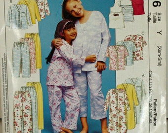 McCall's 3015, UNCUT, Sewing Pattern, McCall's P356, Nightshirt or Top, Tank Top and Pull-on Pants in 2 Lengths, Child's  3-4 and 5-6