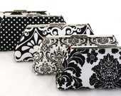 Set of (5) Custom Designed Bridesmaids Clutches in  Black and White Bag Design your own customized set for your Bridal Party Gift