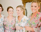 Bridesmaid Robes. Set of 10 Knee Length Robes. Assorted Prints.