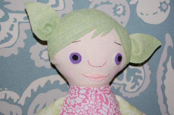 SALE - Fairy Doll - Handmade Stuffed Doll Ragdoll - GREEN hair  - Ready to Ship