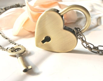 Heart Lock Key Necklace. spring fashion