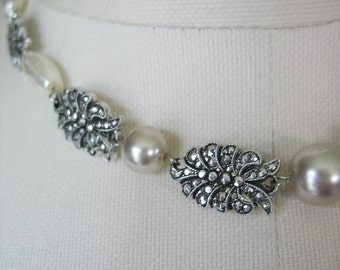 Marcasite and Pearl Necklace, Choker, Eloxal, Aluminum, West Germany, 1950s, White, Silver, Light Weight