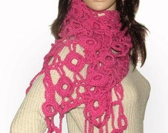 Crochet Scarf, Pink Crochet Scarf Crochet Lace Scarf Women's Dusty Pink scarf OOAK