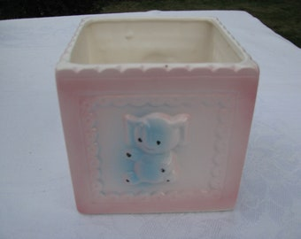 Vintage Nursery Childs Room Planter A B Lamb and Elephant