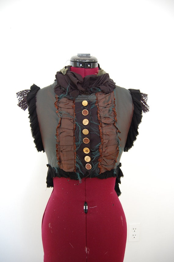 Green and Brown steampunk Victorian vest bodice.
