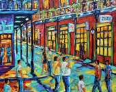 Original painting Bourbon Street New Orleans night scene cityscape created by Prankearts