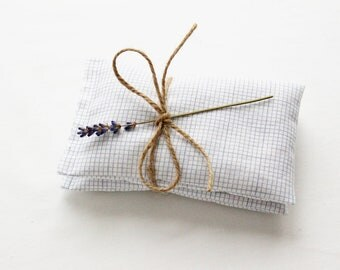 Graph Paper Botanical Sachets, Organic Scented Drawer Sachets, Gray and White Bedroom Decor Housewarming Gift