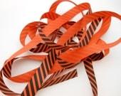 Orange Black Striped Grosgrain Ribbon for Halloween