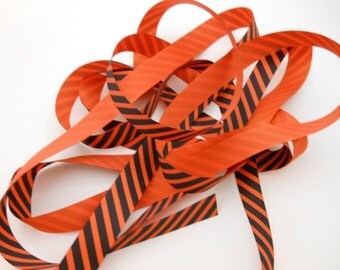 Ribbon - Grosgrain Ribbon - Orange - Black - Halloween - Striped