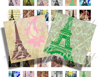 Pretty Paris 1x1 inch for pendant, scrapbook and more collage sheet No.1036