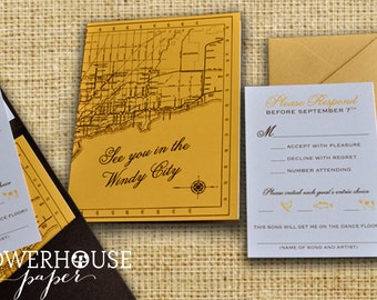 Chicago Wedding Invitation Pocketfold Vintage Map