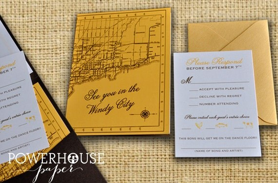 chicago wedding invitation pocketfold vintage map