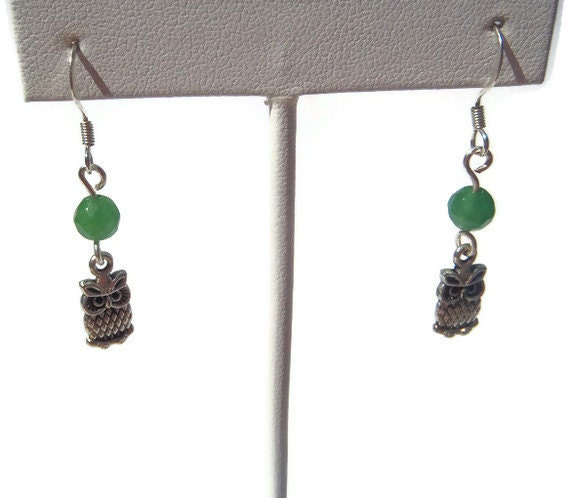 Small Owls and Green Quartzite Dangle Earrings