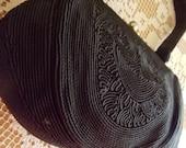 Dressy Black Corde Vintage 1940s Handbag