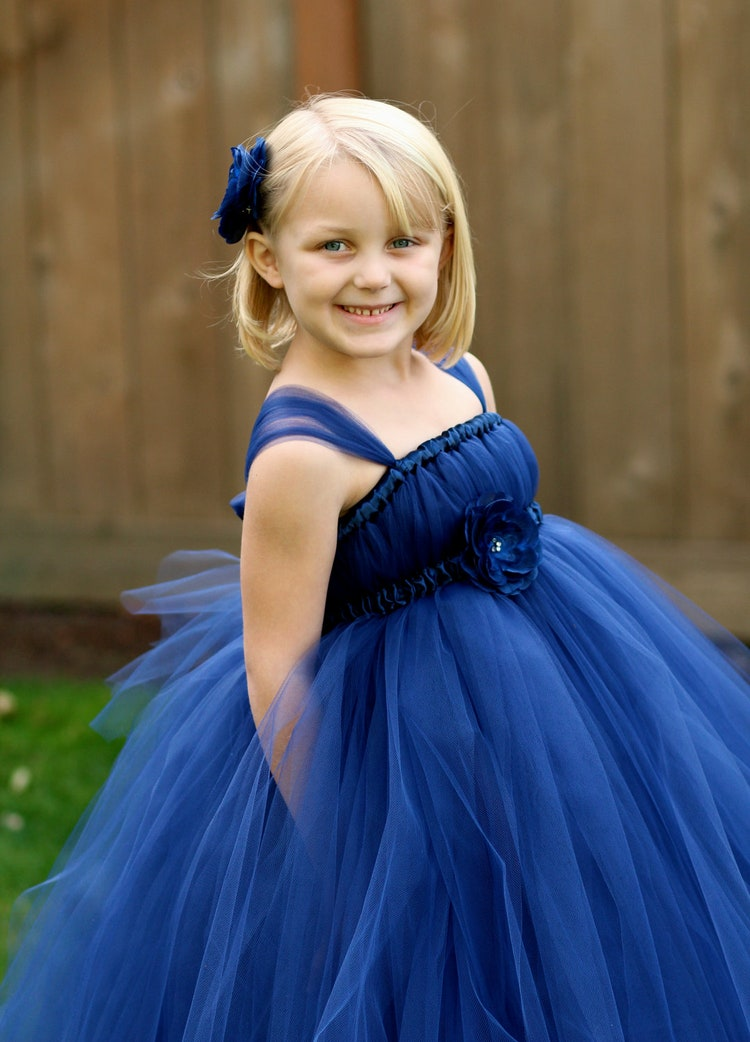 Navy Blue Flower Girl Tutu Dress Sizes 5 By Littledreamersinc-3763