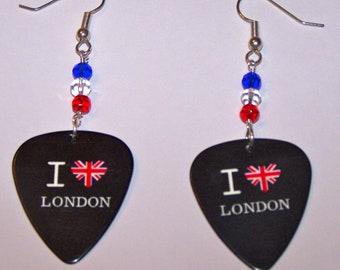 I LOVE London - Guitar Pick Earrings